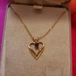 B.David 14k g. Overlay garnet necklace